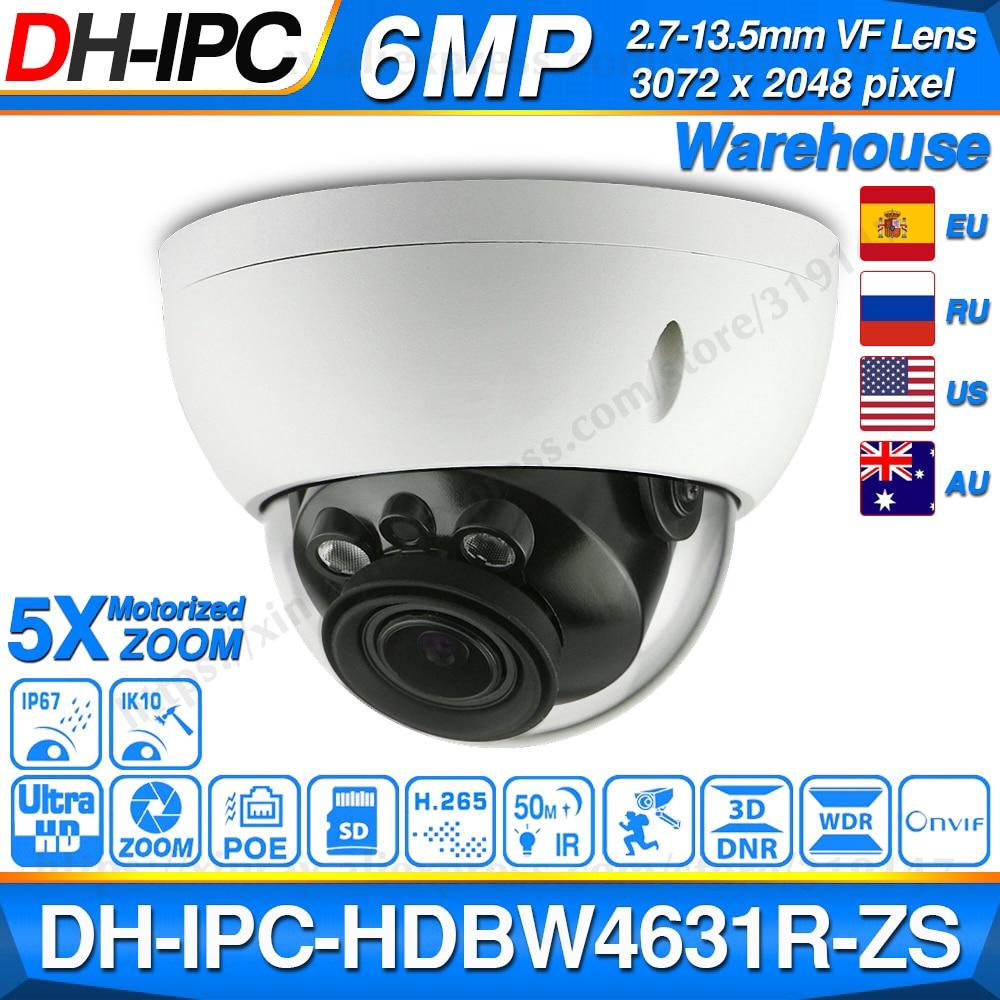 Dahua IPC-HDBW4631R-ZS 6MP IP Camera CCTV POE Motorized Focus Zoom 50M IR SD Card Slot Security Network Camera H.265 IK10