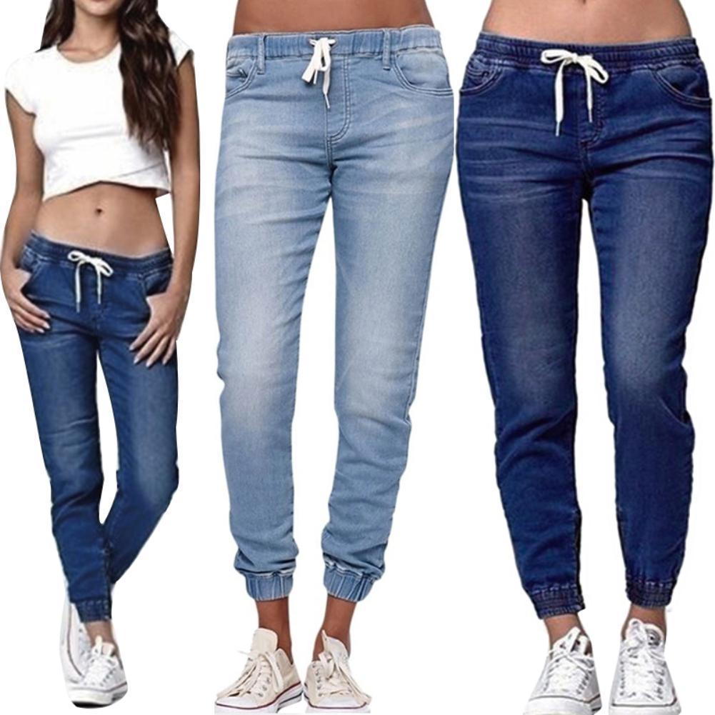 Hot Women Solid Color Drawstring Ankle Tie Slim Stretchy Jeans Plus Size Denim Pants Ankle Tie Slim Stretchy Jeans