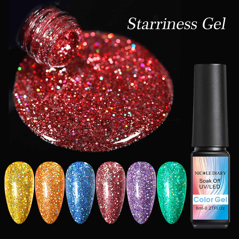 Nicole Buku Harian 8 Ml Kelap-kelip Berkilau Kuku Gel Polandia Payet Rendam Off Bling UV LED Gel Pernis Pernis Shinning Gel