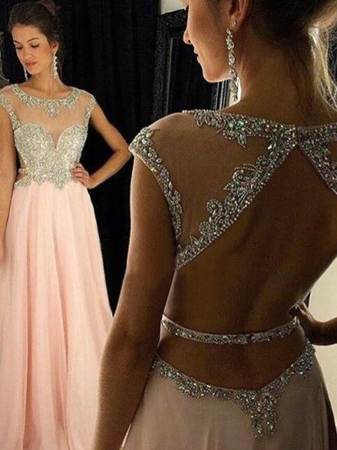 Купить женское шифоновое вечернее платье трапеция длинное розовое в