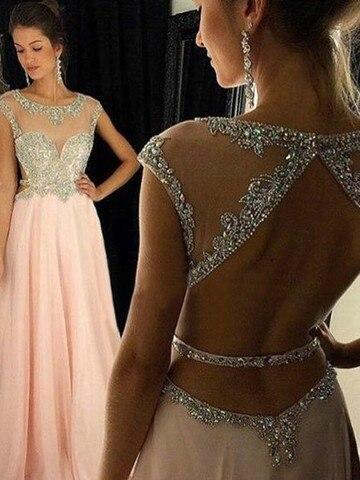 Женское шифоновое вечернее платье трапеция длинное розовое в