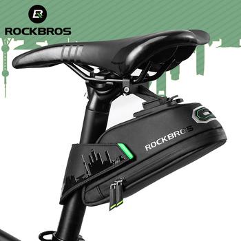 ROCKBROS przeciwdeszczowa torba na rower odporna na wstrząsy torba na siodełko rowerowe dla Refletive tylna duża Capatity sztyca MTB torba na rower akcesoria tanie i dobre opinie CN (pochodzenie) Z poliestru odporne na deszcz C27-1 Bike Saddle Bag Cycling Rear Seatpost Panniers Black Rear Seatpost Frame
