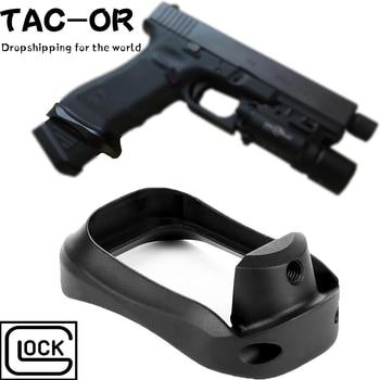 цена на Tactical CNC Glock Plus Magwell Speed Loader Magazine Base Pad Grip Adapter for Hunting Glock 17 22 24 31 34 35 37 Gen 1-4