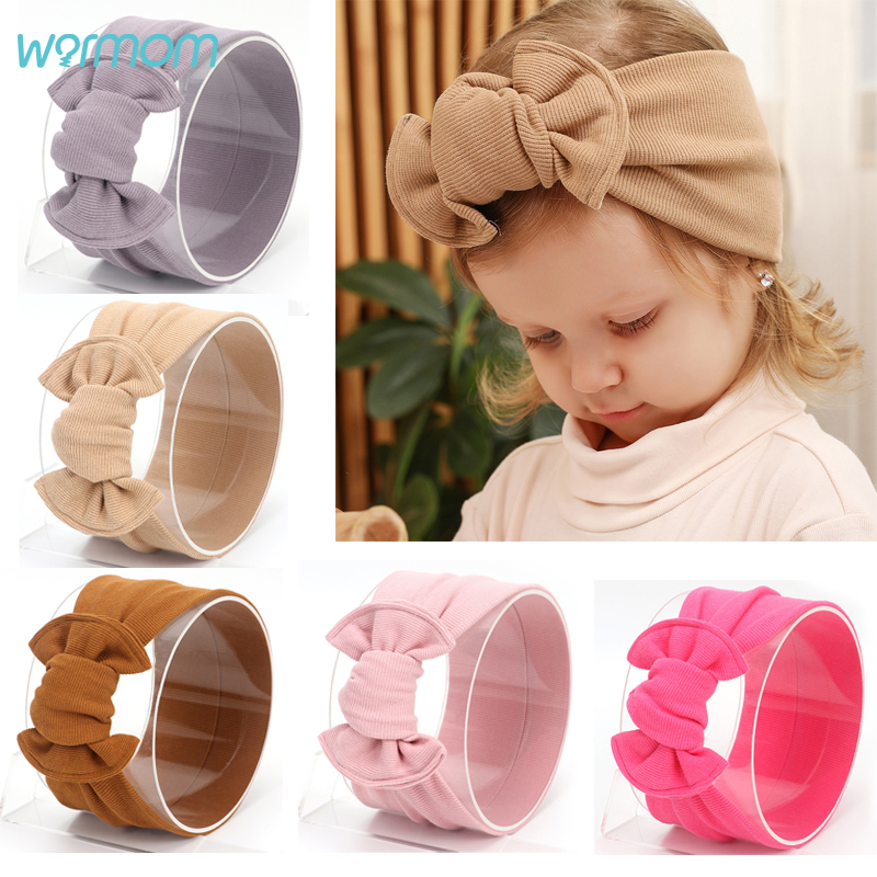 Warmom Baby Girls Cotton Headband Accessories Turban Big Bowknot Ribbon Newborn Kids Princess Elastic Headwrap Cloth Decoration