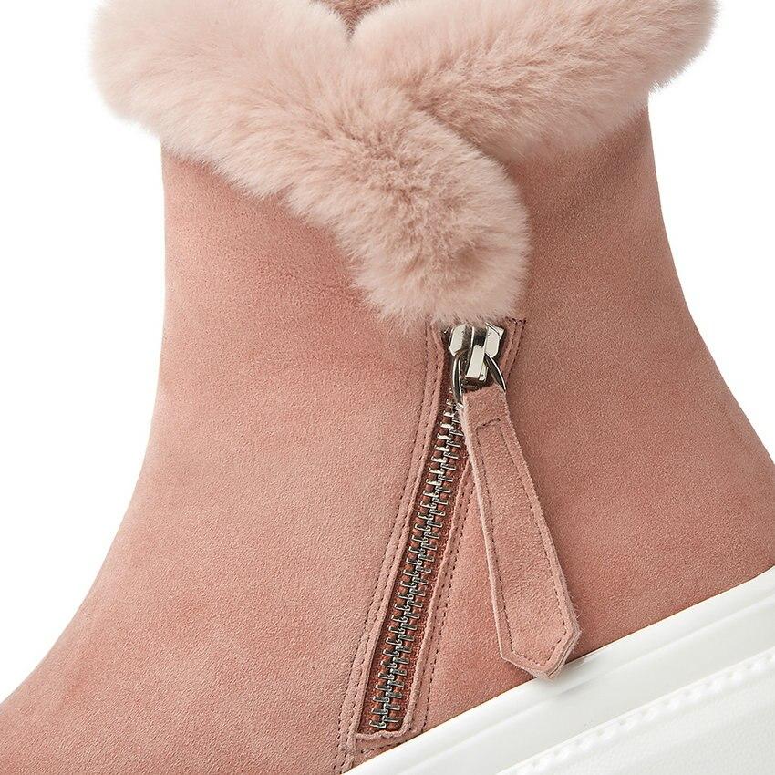 ENMAYER 2019 mode enfant daim bottines pour femmes bout rond plat avec talon Zip hiver neige bottes en peluche femmes chaussures taille 34 40 - 5