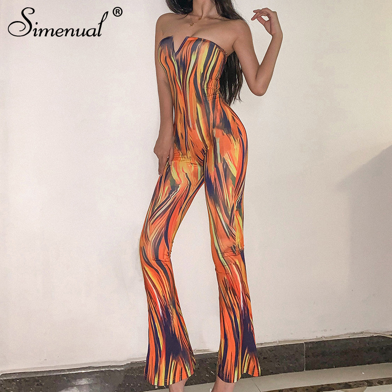 Simenual Tie Dye Strapless Sexy Rompers Womens Jumpsuit V Neck Fashion Hot Summer Party Clubwear Skinny Wide Leg Pants Jumpsuits