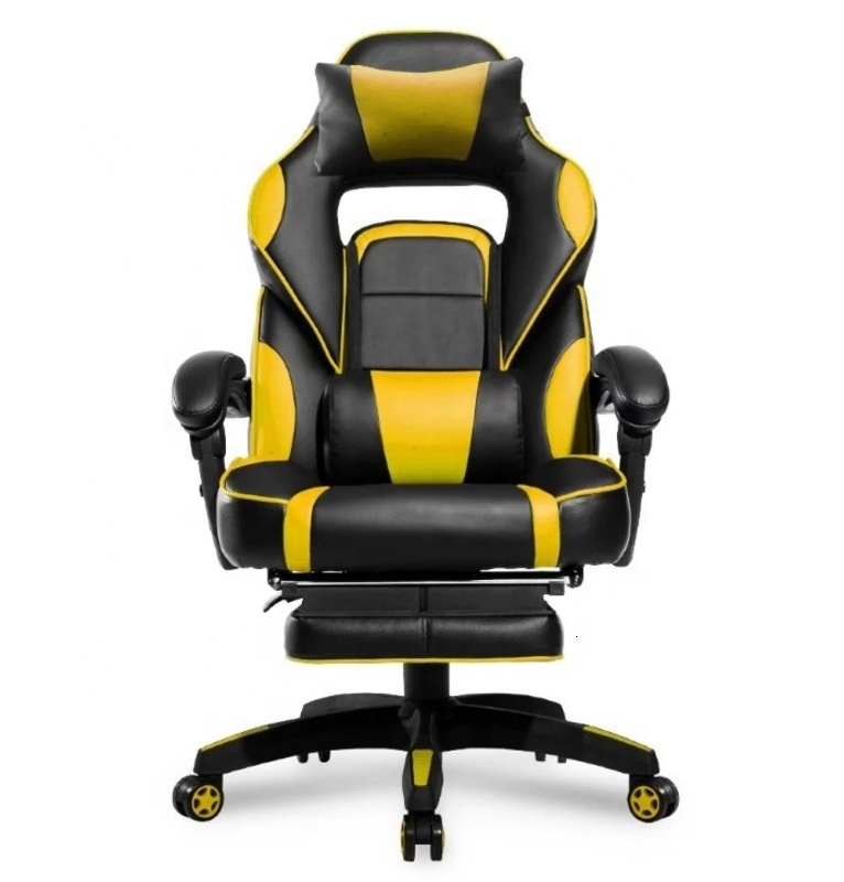 Computer Gaming Chair Racing Seat PC Gaming Desk Office Chair All Direction&angel Flexible Swivel- Yellow