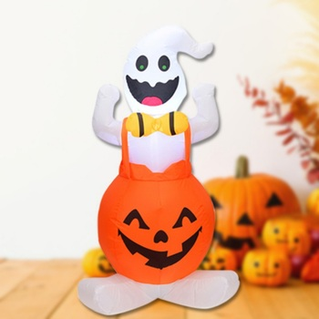 4 FT Tall LED Lighted Halloween Inflatable Pumpkin And Ghost Party Decoration For Outdoor Indoor Home Garden Yard 9371ztou