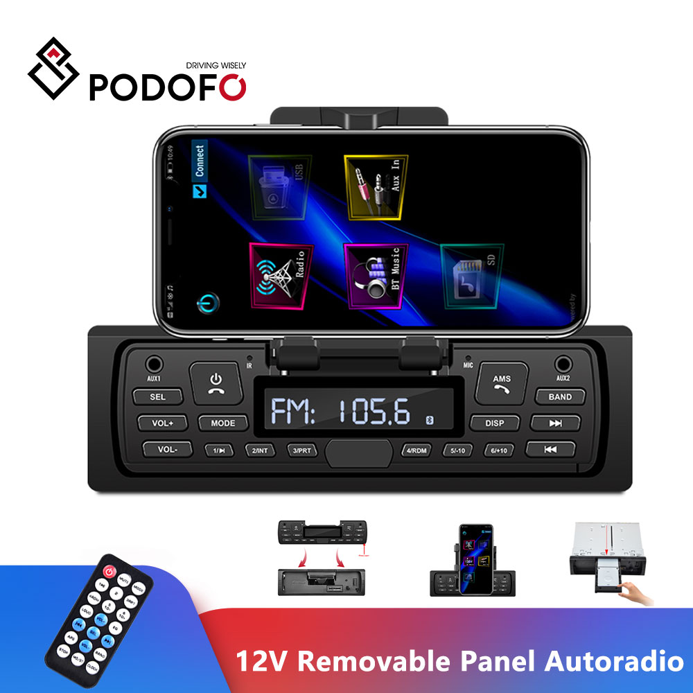 Podofo 1 DIN Car Radio Autoradio 12V Stereo Player Phone AUX-IN MP3 FM/USB Radio Remote Control Audio MP3 Support Phone Holder A
