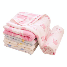 Muslin Blankets 6 layers Jacquard 100%  Gauze Cotton Soft Quilt Swaddle Wrap Kids Bath Towel Bed Sofa Travel Blanket 110*110cm
