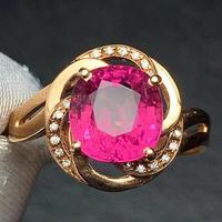 Rubillite Ring Fine Jewelry Pure 18 K Gold Natural Rubi Tourmaline 2.65ct Gemstone Diamond Gift Female Rings for Women Fine Ring