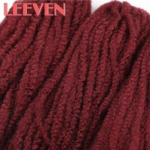 Image 5 - Leeven tresses Afro Marley, extensions capillaires synthétiques au Crochet, duveteuses, 18 pouces, lot de 5 pièces