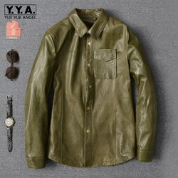Luxury Army Green Sheepskin Shirt Men New Lapel Long Sleeve Slim Office Formal Shirt Oversize High Quality Casual Blouse