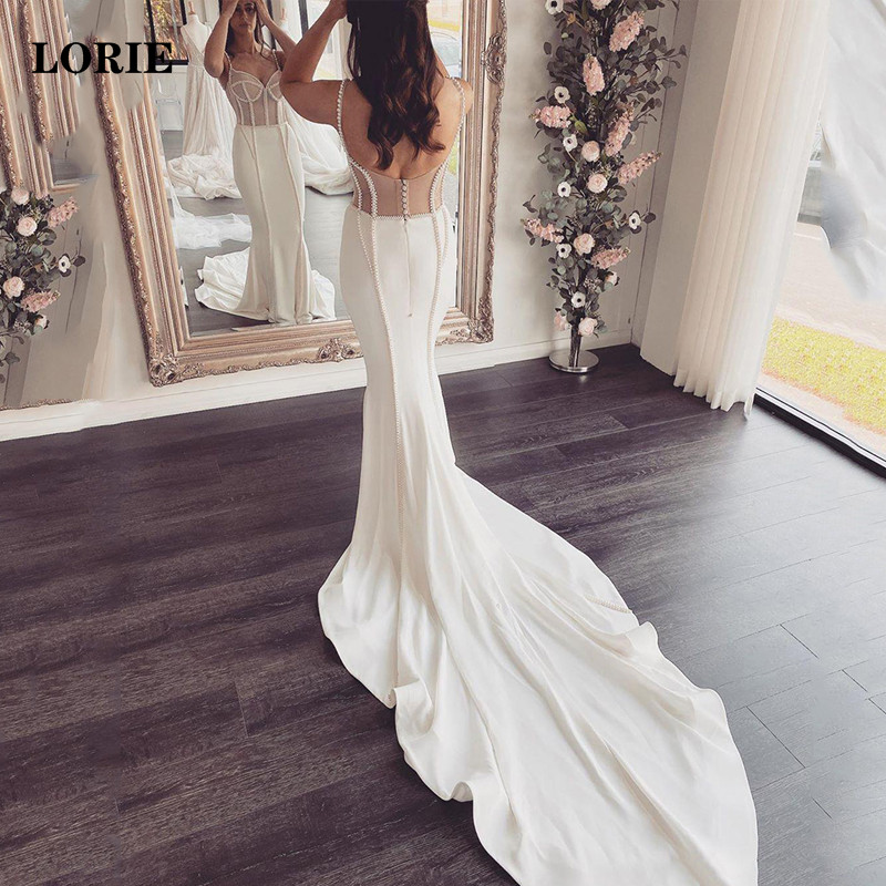 LORIE Mermaid Wedding Dress Spaghetti Straps Bride Dresses With Peals Vestidos De Noiva Sexy Boho Wedding Gowns