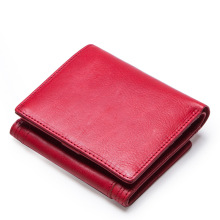 Stylish Korean leather lady purse three fold short leather wallet Solid Standard Wallets