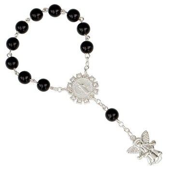 8mm kolor srebrny anioł jezus wisiorek bransoletka z koralików katolicki święty graal dzieci ochrzczony różaniec religia biżuteria hurtowych