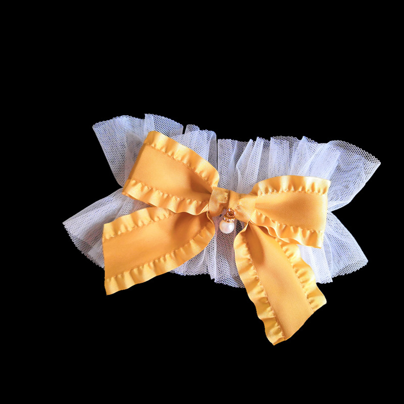 1 Pair Lolita Ruffled Ribbon Cuffs Wrist Cuff Pleated Cuff Korean Beautiful Tulle Flower Hook Accessories Outdoor Apparel