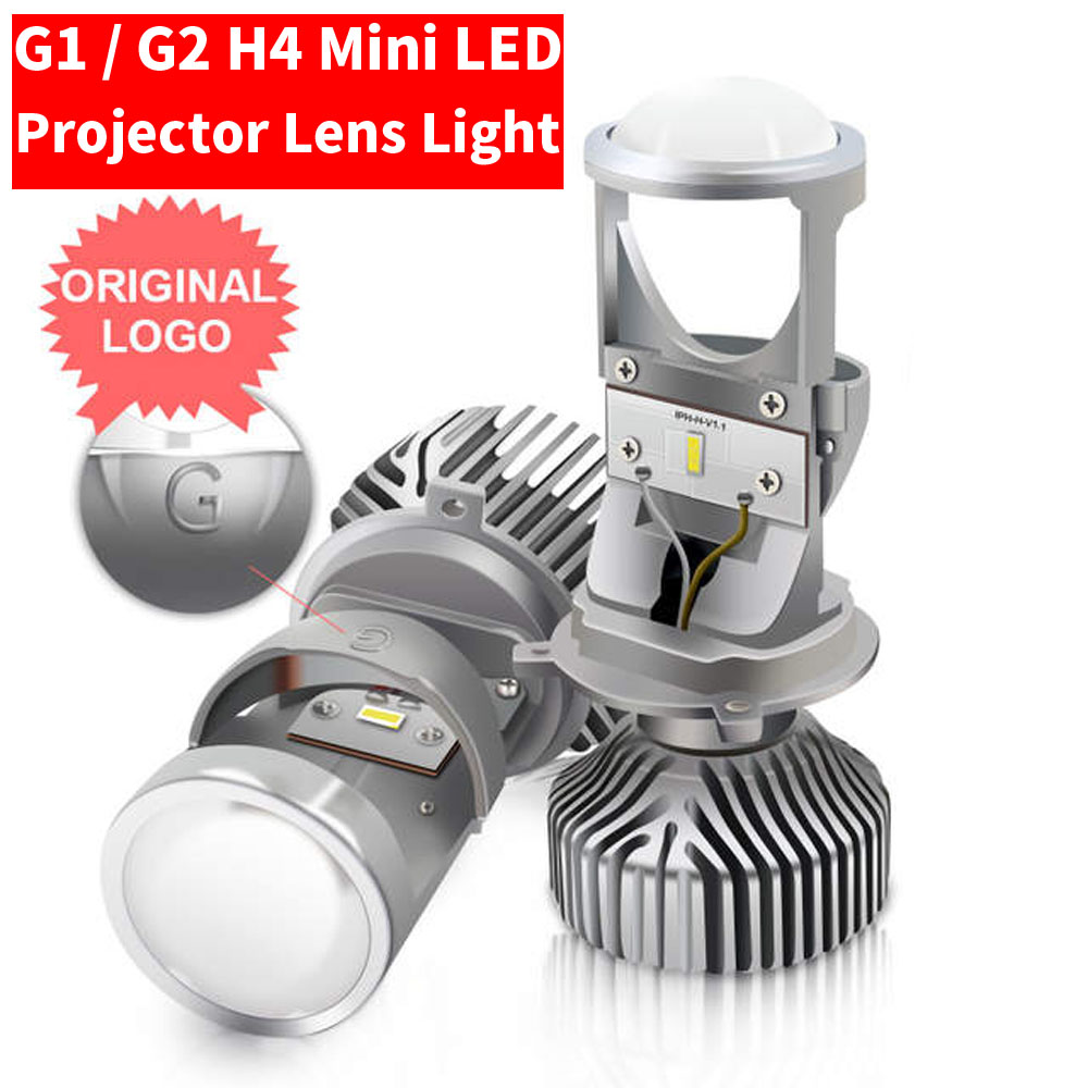 2PCS H4/9003/HB2 G1 / G2 Mini <font><b>LED</b></font> <font><b>Lens</b></font> <font><b>Lamp</b></font> High/dipped Beam Projector Car Motorcycle Headlight Bulbs 6000K Fanless 40W 8000LM image
