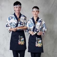 Jackets Apron Kimono Headband Sushi Cook-Uniform Chef Work-Clothes Kitchen Waiter Restaurant