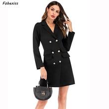 Elegant Black Blazer Dress Women Fall 2019 Double Breasted Long Sleeve Plus Size Bodycon Mini Dress Suit Slim Dress Suit Office стоимость