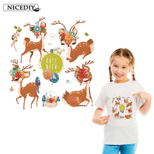 Nicediy DIY Cute Animal Patches Heat Transfer Vinyl Sticker Thermal Transfers Deer Iron On Transfers For Clothes Applique Badge цена