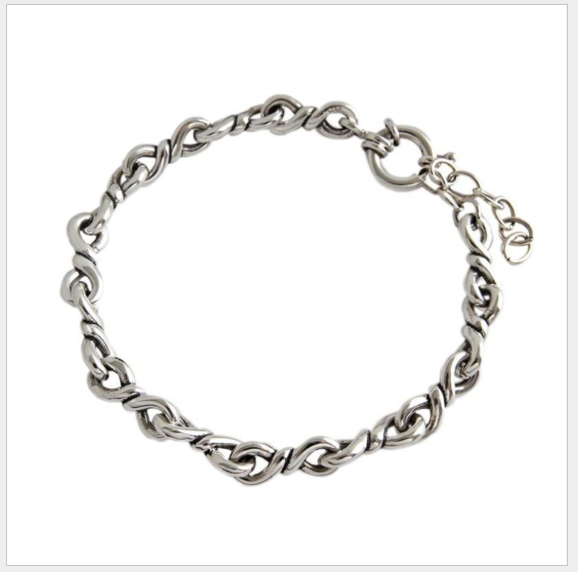 Vintage 925 Sterling Silver Bracelets for Men Women Fashion Bracelet Hand Retro Punk Chain Link Charm Bracelet wide 5 6mm in Chain Link Bracelets from Jewelry Accessories