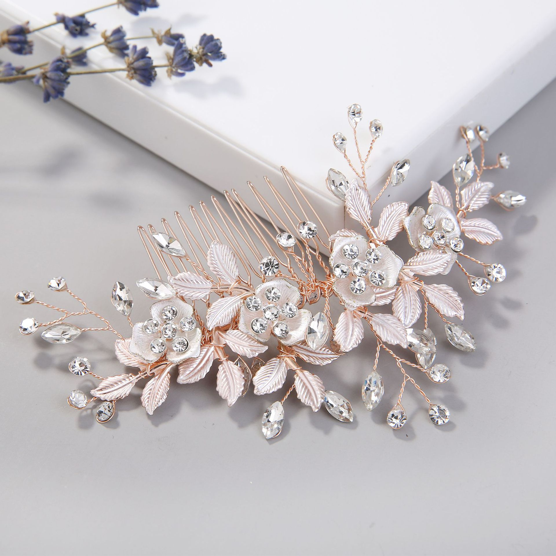 Bridal Headpiece Comb Barrettes Hair-Accessories Rose-Flower-Leaf Rhinestones Crystals