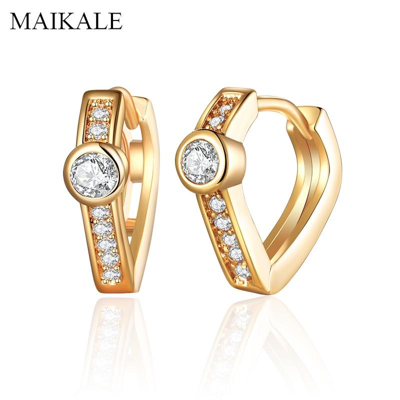 MAIKALE Trendy Gold Stud Ohrringe Silber Farbe Zirkonia Runde Kreis Ohrring für Frauen Schmuck Weiblichen Accessoires Mädchen Geschenke