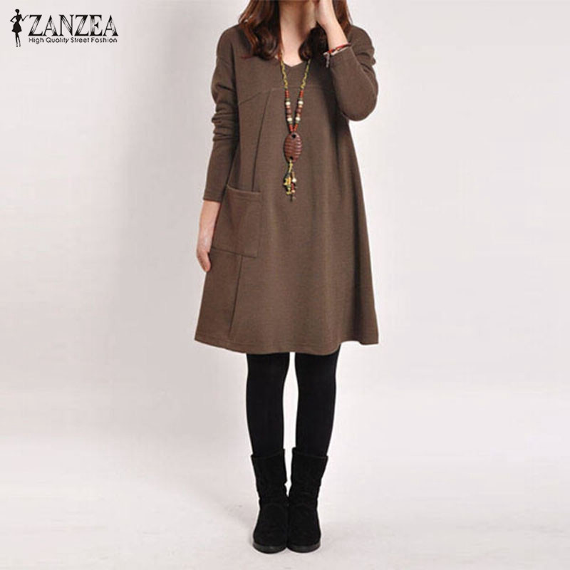 Vestido das mulheres do vintage camisola 2019 outono hoodies vestido feminino v pescoço manga comprida vestidos longo pulôver robe femme plus size