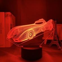 Akrylowe 3D Illusion Baby Night Light samochód sportowy Nightlight dla dzieci dziecko chłopiec dekoracja sypialni stolik nocny lampa samochód wyścigowy prezent tanie tanio 3DLIGHTFX CN (pochodzenie) ROHS Noc światła Z tworzywa sztucznego Żarówki led Touch 110 v 220 v Suche baterii HOLIDAY