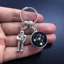 Solar System Planetary Keychain, Galaxy Nebula Double-sided Glass Space Astronaut Pendant, Fashion Car Keychain