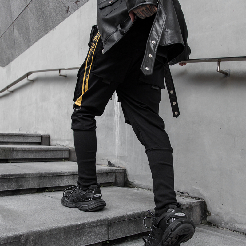 NEW Side Pockets Darkly Style Spliced Hip Hop Skinny Men's Cargo Sweatpants Joggers Trousers Fashion Full Length Pencil Pants