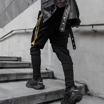 NEW Side Pockets Darkly Style Spliced Hip Hop Skinny Mens Cargo Sweatpants Joggers Trousers Fashion Full Length Pencil Pants