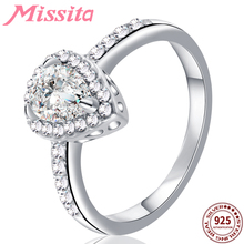MISSITA 925 Sterling Silver Water Drop Clear Crystal Rings for Women Brand Jewelry Ring Gift For Mother Hot Sale