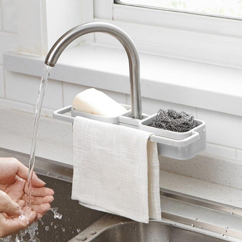 Faucet Sink Shelf Soap Sponge Drain Rack Bathroom Holder Kitchen Storage Suction Cup Kitchen Organizer Sink kitchen Accessories