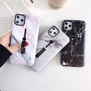 For iPhone 11 Xr 11 Pro XS MAX Case Fashion Marble Luxury Flower Loop Ring Strap Cover For iPhone 8 Plus 7 SE 6 Hide Stand Case(China)