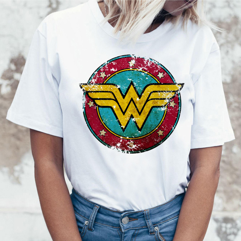 Wonder Woman T Shirt Ulzzang Tee Shirt T-shirt Harajuku Tshirt Women Femme Hip Hop Female Summer Top Streetwear Cartoon