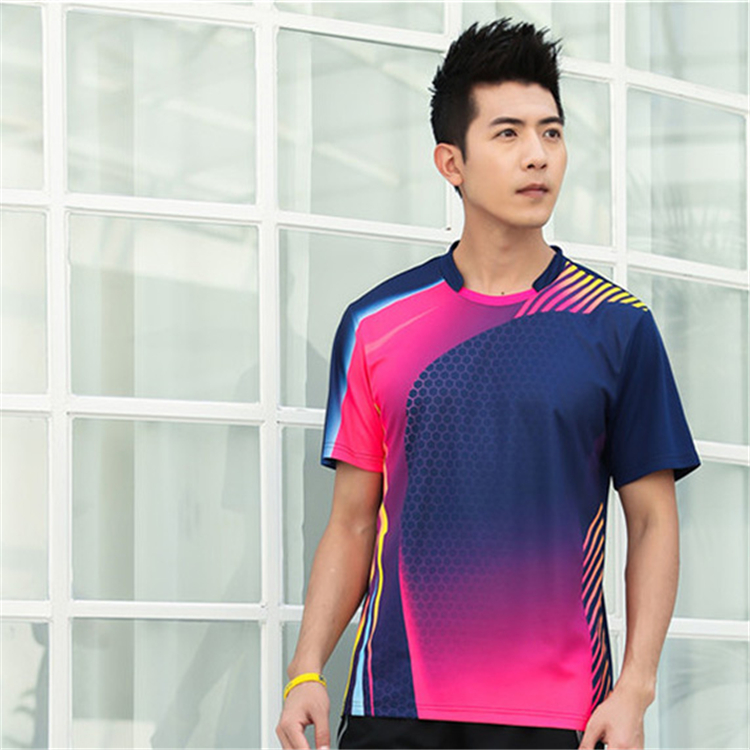 Быстросохнущая, впитывающая пот и дышащая рубашка для бадминтона, топ для соревнований, тренировочный костюм для бега, мужской и женский короткий рукав - Цвет: 1813Amale3