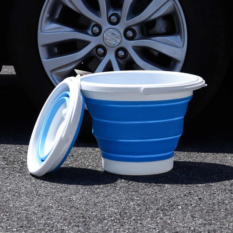자동차 접는 양동이 다기능 물 저장 양동이 텔레스코픽 스토리지 박스 세차 야외 낚시 양동이