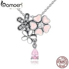 Bamoer стерлингового серебра 925 Розовое Сердце Cherry Blossom Цветок 45 см подвески и ожерелья Женщины стерлингового-серебро-ювелирные изделия SCN046