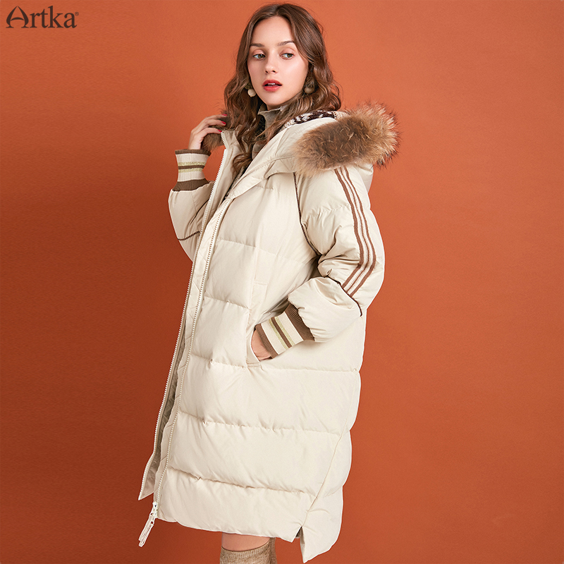 ARTKA 2019 Winter New Women Down Coat 90% White Duck Down Extremely Warm Jacket Raccoon Fur Detachable Hooded Down Coat ZK10291D