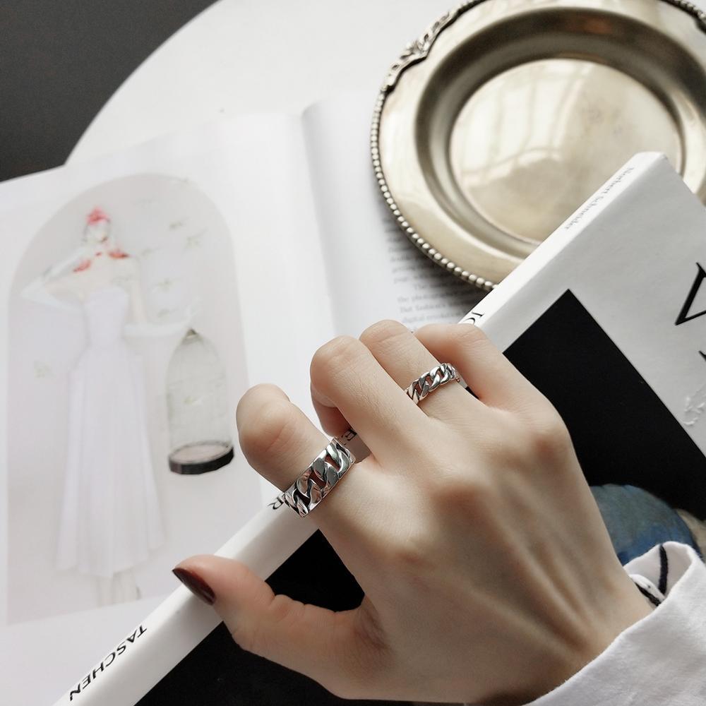 Image 5 - LouLeur, серебро 925 пробы, широкая цепочка, кольца, серебро, Ретро стиль, дикая квадратная полоса, цепь, открытые кольца для женщин, серебро 925, ювелирное изделие, подарок-in Кольца from Украшения и аксессуары on AliExpress