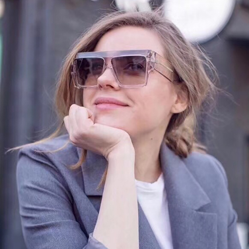 LSJOHN New Oversized Sunglasses Women Big Frame Square Flat Top Sun Glasses Female Man Vintage Mirror Shades Gradient UV400