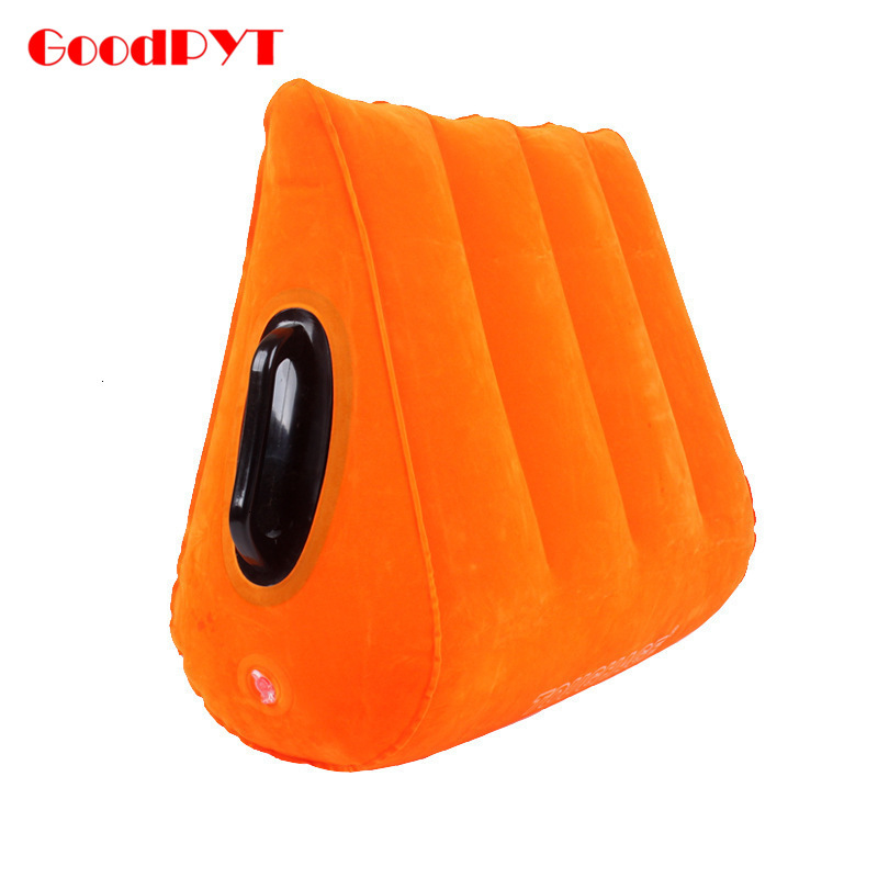 Orange Inflatable Sexy Pillow Aid Wedge Handrail Pillows PVC Flocking Adult Couples Sex Love Position Cushion With Armrest