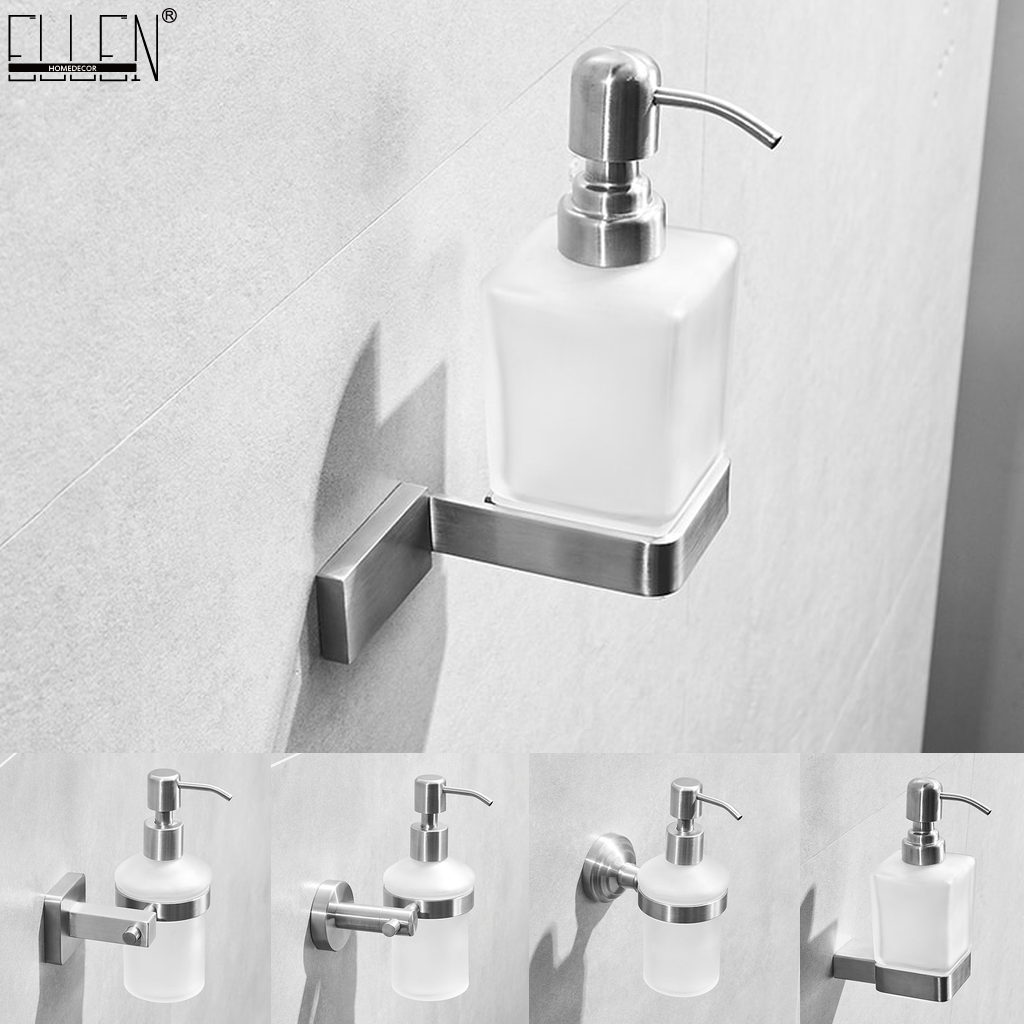Bathroom Liquid Soap Dispenser Wall Mounted 304 Stainless Steel Brush Bickel Finished Shampoo Soap Holder ML9313