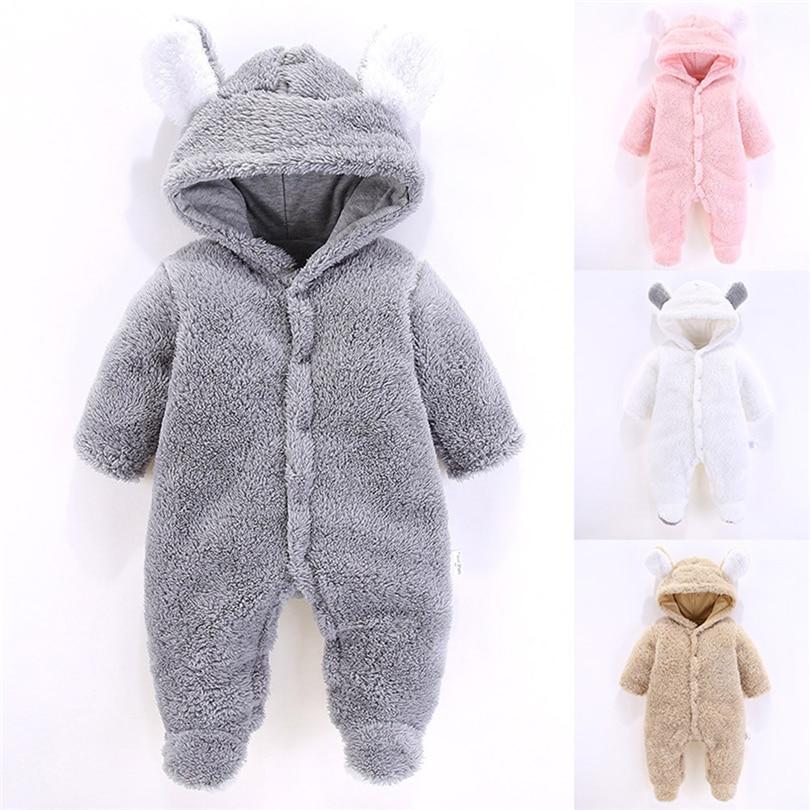 Baby Girl Boy Soft Fleece Hood Ears BodySuit Jumpsuits All In One Koala 6-9