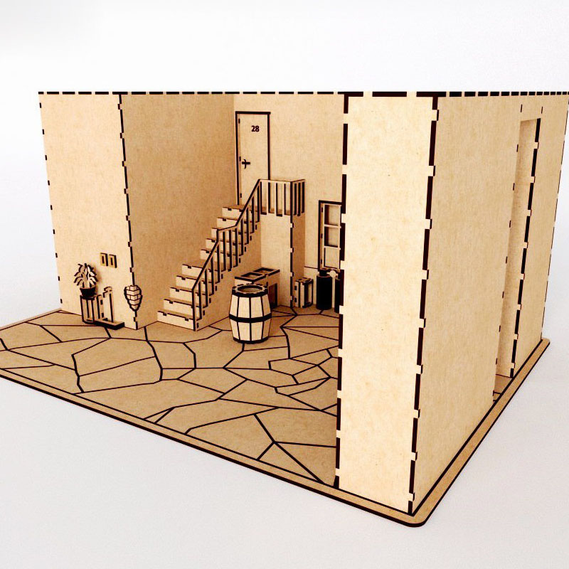 Chaves Vila House Building Vector Design Files For CNC Laser Cutting Wood Acrylic Engraving Drawing