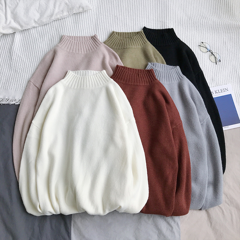 UYUK2019 Autumn Winter New Collegiate Casual And Versatile Solid Color Semi-turtleneck Round Collar Youth Men's Sweater Clothes