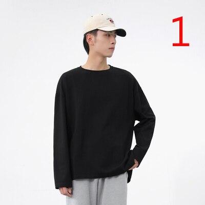 Новинка осени 2019, свободная однотонная Повседневная футболка с круглым вырезом и длинными рукавами, мужская приталенная футболка