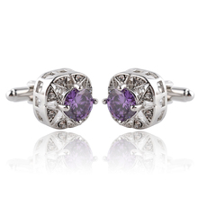 Novelty Luxury Purple white Cufflinks for Mens Brand High Quality crown Crystal gold silver Shirt Cuff Links